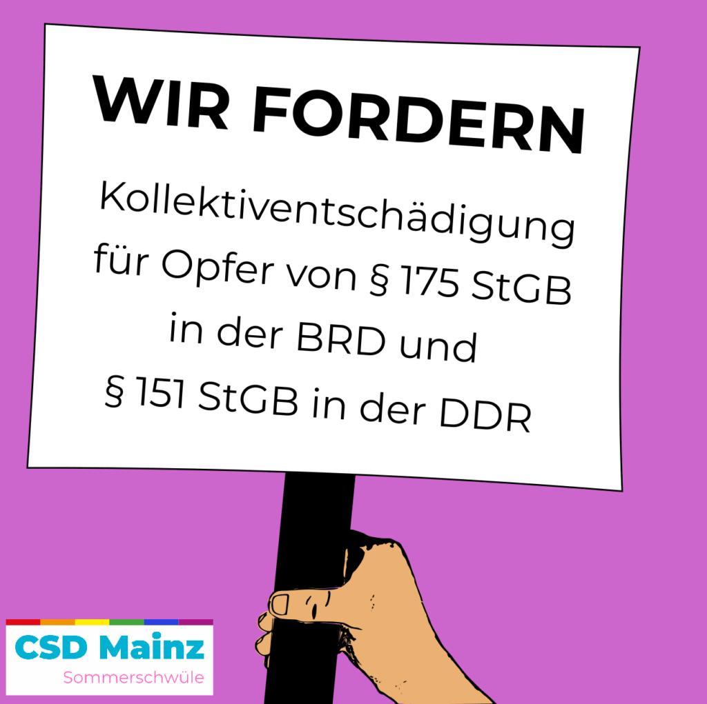 Wir fordern Kollektiventschädigung für Opfer von § 175 StGB in der BRD und §151 StGB in der DDR