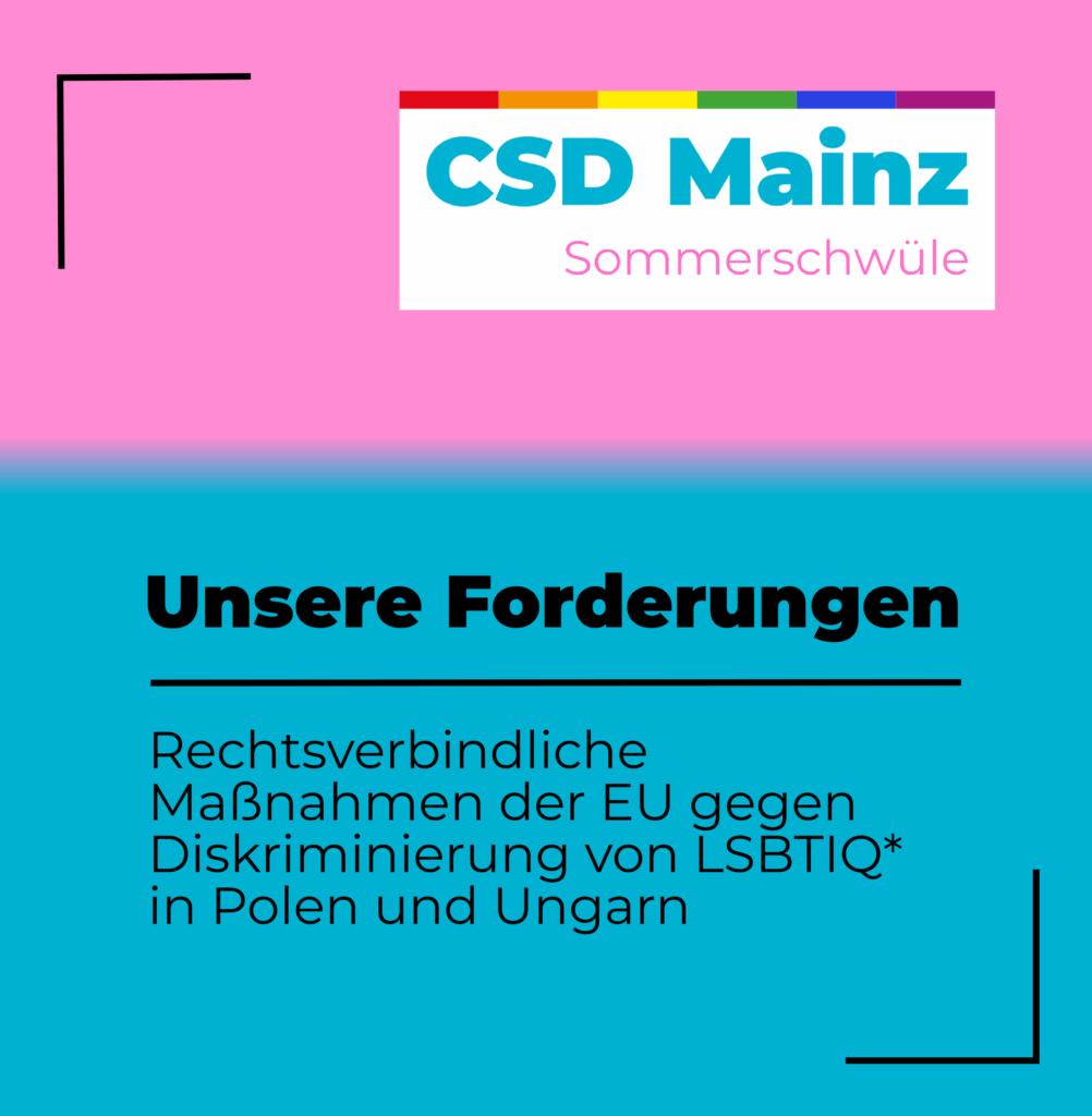 Unsere Forderungen: Rechtsverbindliche Maßnahmen der EU gegen Diskriminierung von LSBTIQ* in Polen und Ungarn