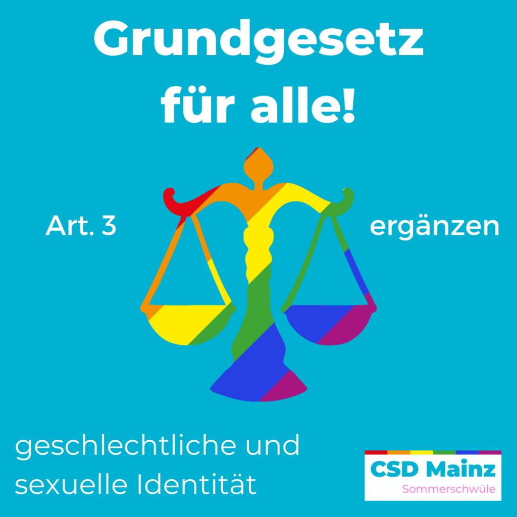 Grundgesetz für alle! Art. 3 ergänzen: geschlechtliche und sexuelle Identität